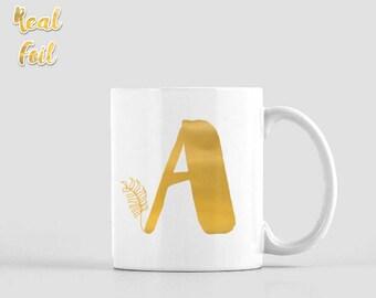 Gold foil mug, Monogram mug, Personalized mug, Initial mug, Birthday gift, Unique coffee mug, Kitchen decor, Gift of Love, FMfp004G