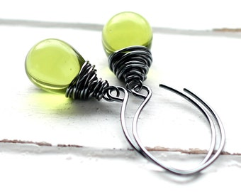 Olive Green Glass Earrings, Mossy Czech Glass Sterling Silver Wire Wrapped Teardrop, Lime Green, Smokey Oxidized Sterling Silver Earwires