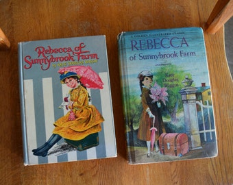 Vintage Rebecca of Sunnybrook Farm by Kate Douglas Wiggin Lot of 2 Books Hardcover Golden Illustrated Classic Whitman Sari Kate Douglas