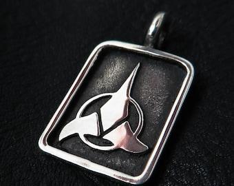 Silver Klingon pendant