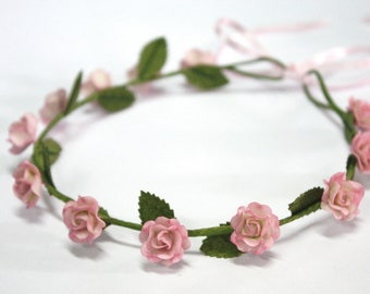 Roses Roses Tiara, accessoires pour cheveux fleurs miniatures Polymer Clay