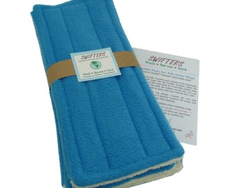 3 Pads, Aqua Blue, FLEECE & TERRY Double Sided Reusable Swiffer Pads, EcoGreen Pads, washable Swiffer Sweeper pads, mop and dust, fits 10""