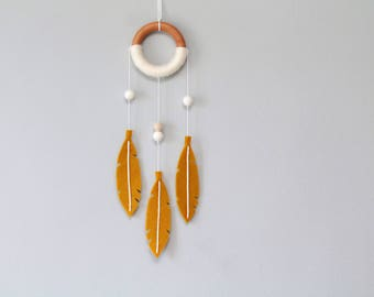 Mustard Yellow Dream Catcher. Modern Felt Dreamcatcher for Nursery or Master Bedroom. Small Wall Hanging Decor.