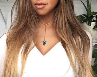 Rustic Blue Arrowhead Choker Necklace, Boho Necklace, Gift for her