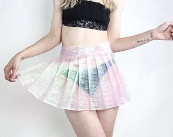 Handmade Iridescent Pleated Mini Skirt - XS-XL, Choose Your Size, Choose your color