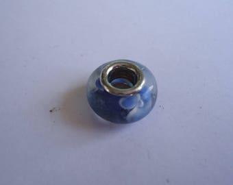 millifiori blue glass flower bead