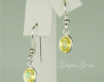 Memorial Day Sale Yellow Mystic Topaz Sterling Silver Dangle Earrings 8x6mm 3.20ctw