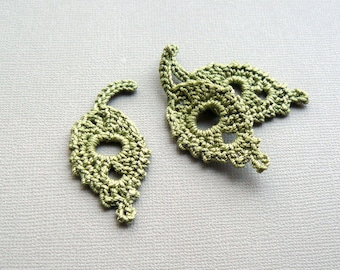 3 Crochet Leaf Appliques -- Olive Green Willow Leaves
