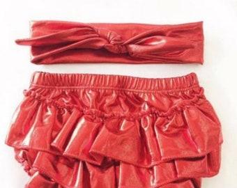 Free delivery,Lycra red bloomer,Lycra red headband,Newborn bloomer,ruffle bloomerGirl bloomer