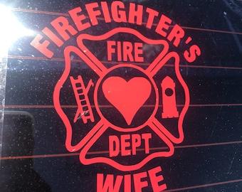 "5"" FireFighter's Wife Vinyl Decal"