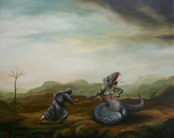 """oil on canvas """"St George"""", oil painting oil painting, landscape, painting, Canvas Art, Wall Art, Modern Art Art"""