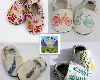 Sale - Any THREE Pairs of Organic or Original Baby Shoes from my shop- Size 0 3 6 9 12 18 months- Handmade boys, girls or unisex