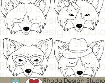Hipster Fox Faces Digital Clip Art Retro Foxes Illustration stamps