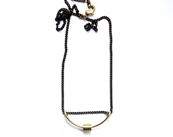 PEARL | Solid Brass Bead and Shaped Brass Wire Pendant on Black Gold Brass Chain