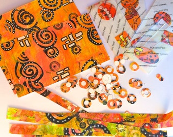 Journaling Embellishment Mixture; Washi Tape, Paper Reinforcers; Assorted Shape Stickers; Decorative papers