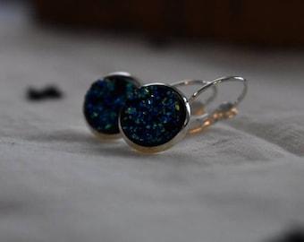 Blue Druzy Dangle Earrings, 12 mm