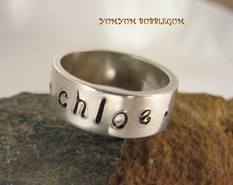 FREE SHIPPING ---- STERLING SILVER HANDSTAMPED FAMILY  NAMES RING