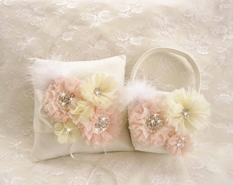 Flower Girl Basket Ring Bearer Pillow, Ivory and blush Flower Girl Basket Set Wedding Pillow