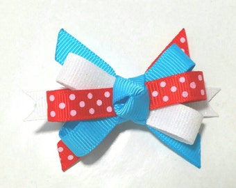 Baby Bow, Sparkle Hair Clip, Hair Bow, Half Circus Birthday Party, Itty Bitty, Photo Prop Hair Accessory, Red Turquoise White