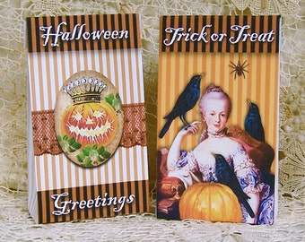 Digital Halloween Candy Bags - Printable Marie Antoinette Mini Treat Boxes INSTANT Download With Raven Spider Pumpkin - Party Favor CS62GB