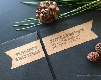 season's greetings - personalized wraparound return address labels - banner shape - set of 20