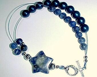 Row Counter Bracelet -  Stardust and Denim With Sodalite Gemstones - Item No. 604