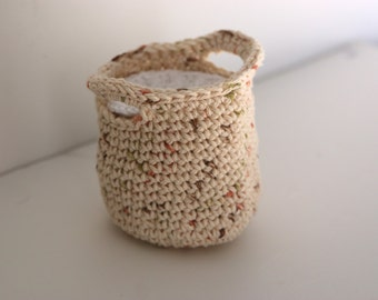Earth Tone Crochet Basket with Facial Scrubbies Makeup Remover Pads Wash Cloths Face Cloth