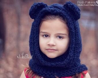 Knitting Patterns - Knit Bear Cowl Pattern - Bear Hood Knitting Pattern - Bear Hooded Scarf - Baby, Toddler, Child, Adult Sizes - PDF 405