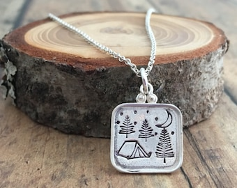 Tent and Camping Necklace with Pine Trees, Moon and Stars, Hand Stamped Camping Necklace