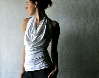 White Jersey halter top -Made to order