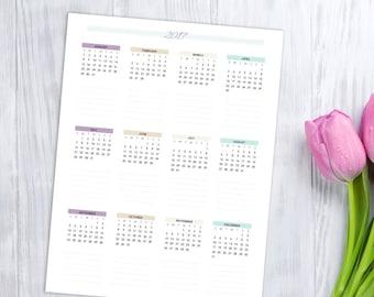 2017 Wall Calendar, printable