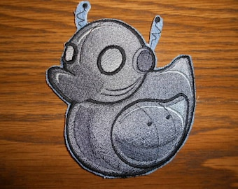 Embroidered Patch - Robot Duckie / Rubber Ducky - sew or glue on 3x3""