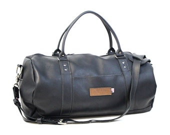 Rimini Black Leather Duffel Bag