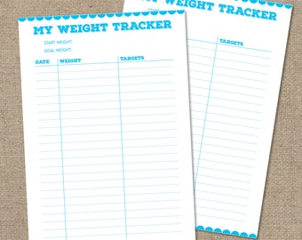 Weight Loss Tracker Diet Planner, New Years Resolution, Print at home, DIGITAL A4