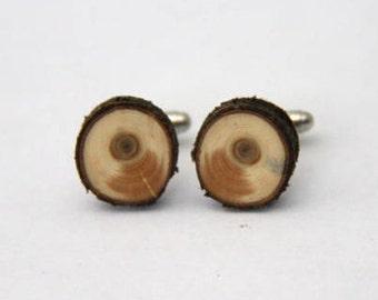Cedar - ONE PAIR of natural wood cuff links