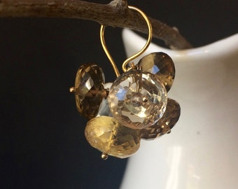 Citrine Quartz Faceted Rondelle. 24 Karat Gold Vermeil. Dangle Cluster Earrings