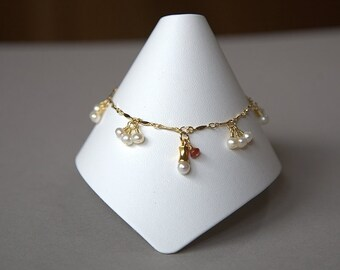 Tiny Pearl Gold Plated Ankle Bracelet