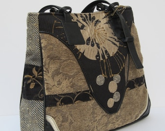 LARGE TOTE BAG by Elizabeth Z Mow  Fabric Leather Collage Art