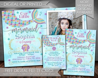 Mermaid Birthday Invitation, Mermaid Invitation, Mermaid Birthday Party Invitation, Mermaid Invite, Teal Purple Gold, Girl Mermaid Tail #373