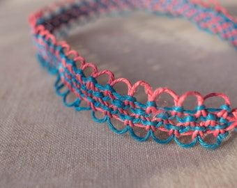 16 inch Pink and Turquoise hemp necklace