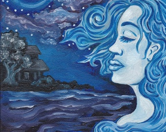 blue lady on the lake art print of oil painting
