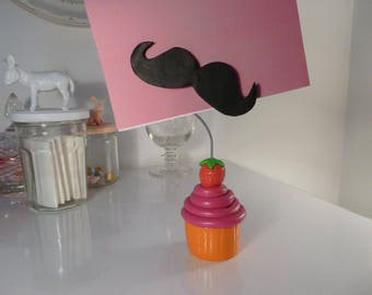 With magnetic mustache cupcake picture holder
