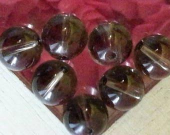 1 bead 8 mm in diameter, hole 1 mm smoky quartz