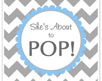 Baby Shower About to Pop labels, Chevron, Square She's About to Pop Stickers, Baby Shower Labels, You Choose Colors