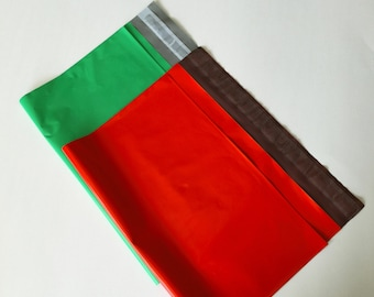 20 12x15.5 Poly Mailers RED and GREEN 10 Each Self Sealing Envelopes Shipping Christmas
