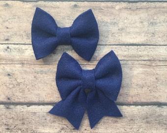 Large Navy Blue Felt Bow on Metal Clip, Elastic Headband, or Hair Tie; Buy 3 Get 1 Free! Navy Blue Hair Bow, Large Felt Hair Bow