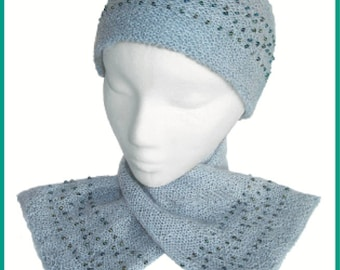 Beaded Hat and Scarf to Knit PDF Pattern Instant Download