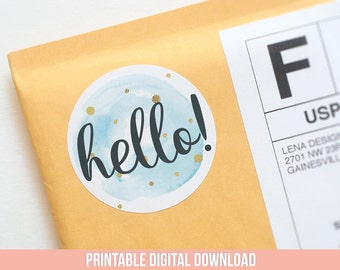 Hello Sticker - Printable Stickers - Happy Mail Stickers - Packaging Stickers - Product Packaging - Pretty Packaging Ideas - Happy Mail