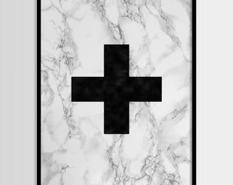 Swiss cross print, Modern art, Minimalist art, Geometric art, Black white, Digital art, Printable art, Digital Instant Download 11x14, 8x10