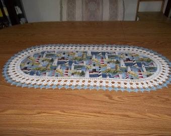 Lighthouse Table Runner Best Doilies Crochet Fabric Table Runner Crocheted Edge Centerpiece Table Topper Tablecloth Dresser Scarf